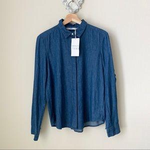 NWT Zara Trafaluc denim button down blouse